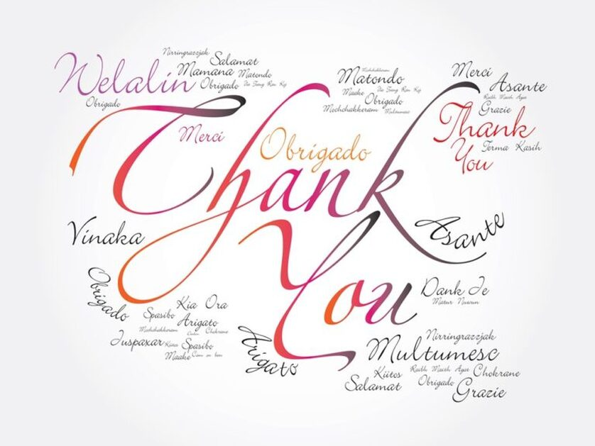 image of a thank you card with the work thank you written in many languages - reception venues - lafayette la - le pavillon