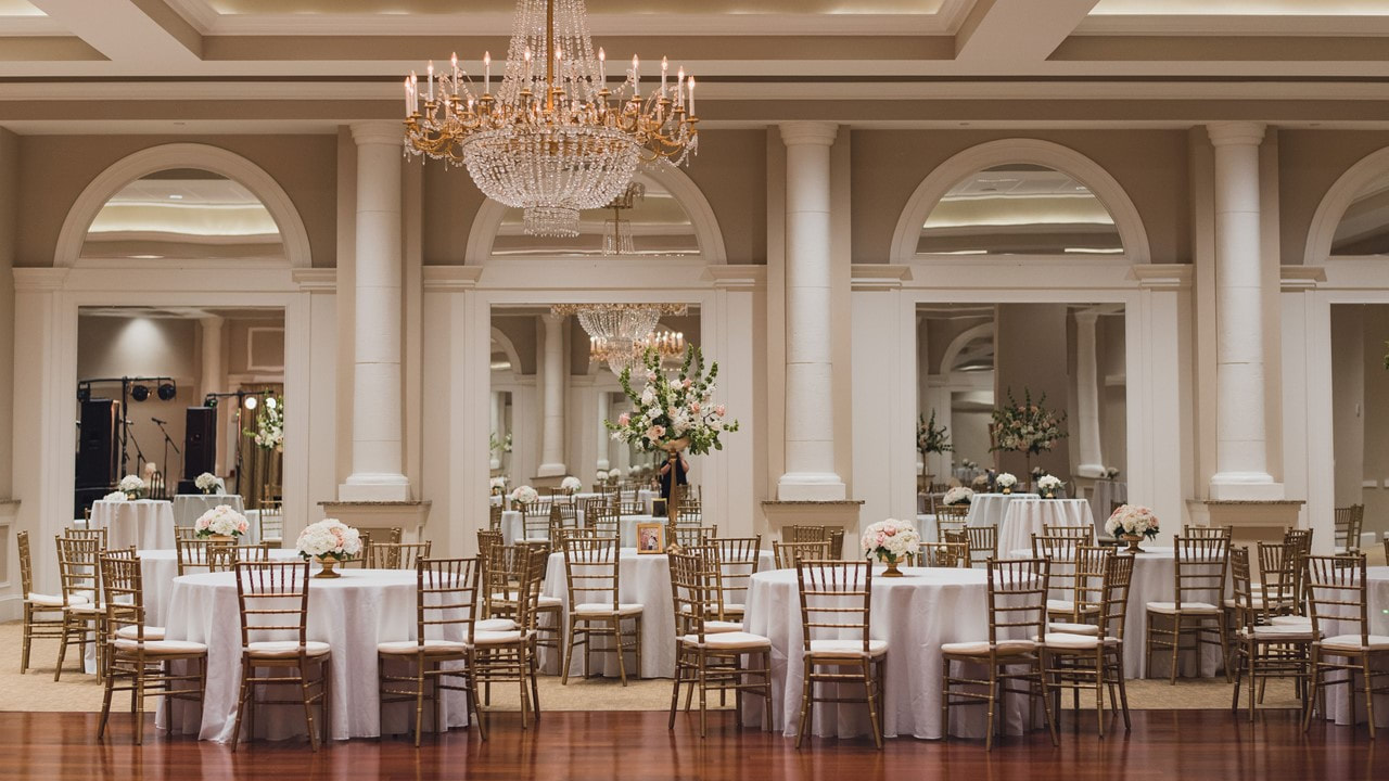 image of the Grand Ballroom at Le Pavillon decorated for a wedding - Wedding and Reception Venues - Lafayette Louisiana